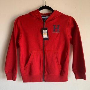 Tommy Hilfiger Hooded Red Zip Up Sweatshirt